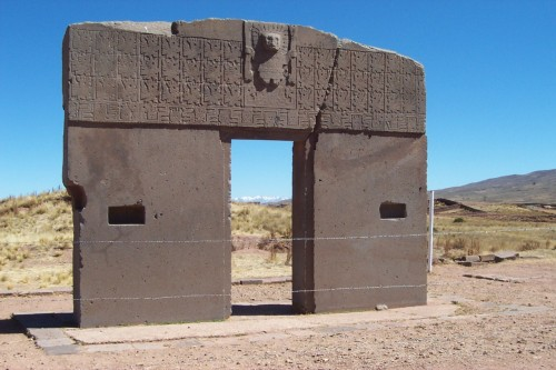 The Gate of the Sun, an arch built by the Tiwanaku - a Pre-Colombian culture from Bolivia - over 1500 years ago, located near the lake Titicaca.