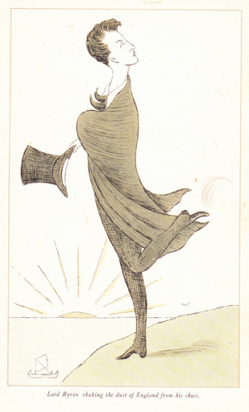 Lord Byron, shaking the dust of England from his shoes, by Max Beerbohm.