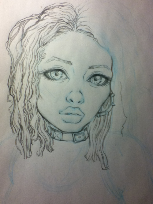 "hoglee:  philliciaglee:  Self portrait WIP  Crap posted on the wrong blog again. Yeah I haven't drawn myself for awhile, so I am taking one of my pictures to do one.  Awesome!Like my teacher used to tell up when we used to draw ourselves and models…""Don't fall in love with your drawing… the models there for you to draw! Don't assume that line your drawing is supposed to be there… LOOK then DRAW!!!""I can see a bit of your style in it :o"