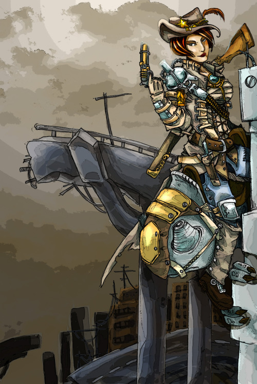 search and enter | concept art for Aetherworks | steampunk sheriff | pencils and photoshop | (full view)   I really have to get used to digital painting >< Possibly even using the computer to draw.  Pencils are so much easier for me, but the lines end up looking gritty. Hmm.  Shall practice more tutorials :)
