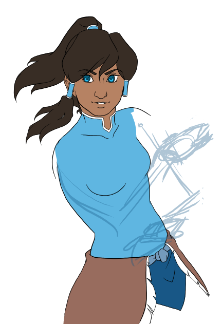 Korra WIP I have this nasty habit of starting the coloring process prematurely whenever I get frustrated with anatomy.