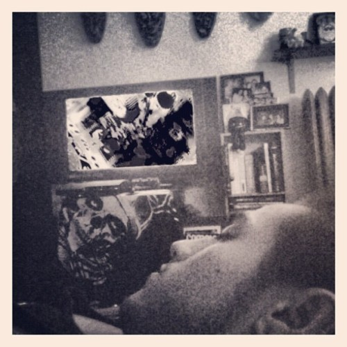 He falls asleep during the best parts #infared #movie #blackandwhite (Taken with instagram)