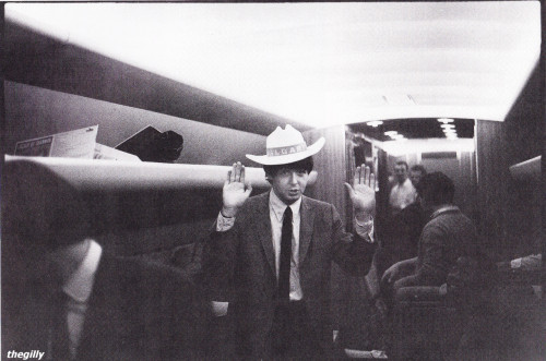 Paul on the plane from Vancouver to LA, 22 August 1964. Photo by Curt Gunther.