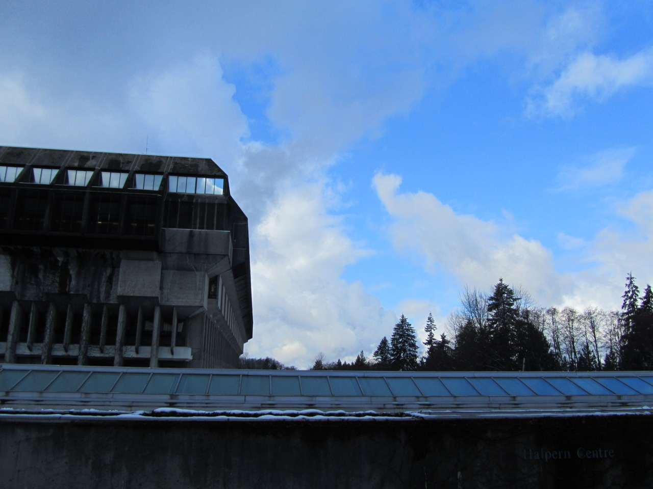 What a beautiful day out there in the world. Up at SFU Burnaby campus the sun peeks through the clouds.