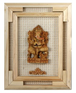 #Ganesh Wall Hanging A creative lightweight simple wall art with casted Ganesh sculpture. The Ganesh art is mounted on a recycled board of old print advertising in India. The board is decorated with woven fabric and a frame made of wood strips in natural shade. The Ganesh wall art measures about 7X9 inches and is made in India. Get it Here Click Pic