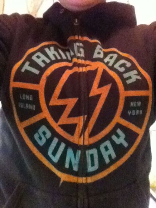 Rocking the taking back sunday hoodie at work today!  Lets see yours everyone!  Submit! Or even drop me an ask saying what merch you have!