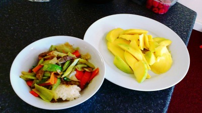 Great lunch suggestion with mango desert. Stir fried beef can go with literally every thing. The trick is mastering the time each ingredient takes to cook
