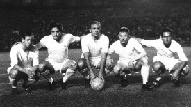 Raymond Kopa, Rial, Alfredo Di Stefano, Ferenc Puskas and Gento of Real Madrid in 1959.
