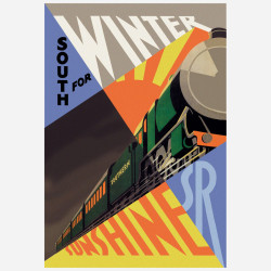 Fab.com: Railroad Wall GraphicFab.comThe Railroad Wall Graphic from WALLS 360 features a fabulous futuristic design of a cubist train heading south for the sunshine. Walls360 Poster Collection