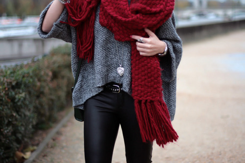 It's not too late to sport a chunky knit scarf if cold weather is still striking in your area!