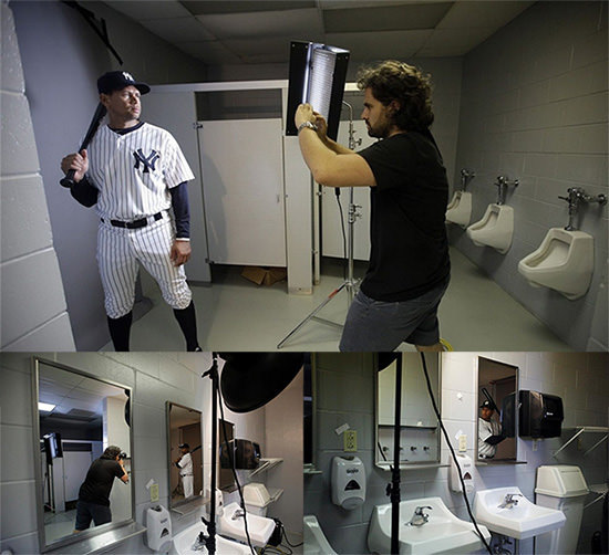 bandh:  Photographer Nick Laham turned a bathroom into a make-shift studio while photographing the Yankees. He used his main camera and then for another creative edge, pulled out his iPhone and shot a couple of Instagram portraits. (via Instagram Portraits of Yankees Shot Inside a Bathroom-Turned-Studio)