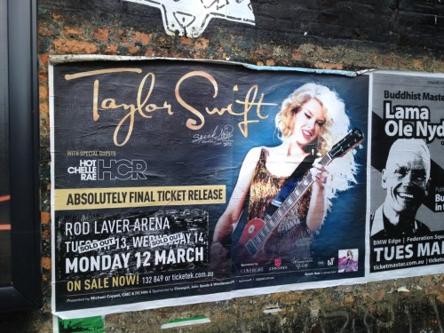 Speak Now Tour Billboard in Melbourne Australia