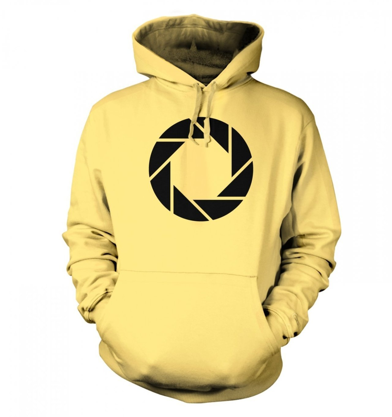 Something Geeky Aperture Science Hoodie at $31.98 This is an Aperture Science logo hoodie, inspired by the Portal and Portal 2 video games. It shows the logo of the research company in charge of producing the Aperture Science Handheld Portal Device, or as most people know it: the Portal gun.