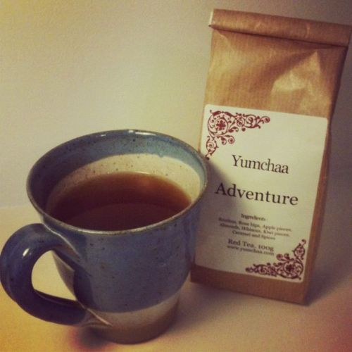 Teasday - Yumchaa Adventure This drink is a really lovely one. The scent is just intoxicating even when smelling the tea before brewing. When my Yumchaa package arrived there was a wonderful scent accompanying it that usually only happens when I get a parcel from Lush Mail Order. As I opened the packet I realised it was the bag of Adventure that smelled so inviting. It was so deliciously fruity a cup was made quickly despite it being late as I'd just arrived back at the Annexe after a closing shift. This is a drink that really needs a good five minute steep as my first three minute one was rather too weak. Once brewed the aroma was of kiwi fruit & almond something rather more mellow than the strong appley one when dry. The taste is a clean rooibos with a slight floral note followed by the sweetness of the caramel. It is absolutely perfect for a refreshing cuppa in the evening as the advantage of rooibos being naturally caffeine free means it won't stop me sleeping.