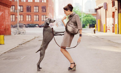 Coco Rocha, a Longchamp Bag and a Weimaraner…New York City, NY (via Live, Love & Lace)
