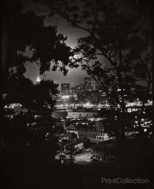 thepittsburghhistoryjournal:  Night View Through Trees of Pittsburgh, W. Eugene Smith, c. 1955 (via)