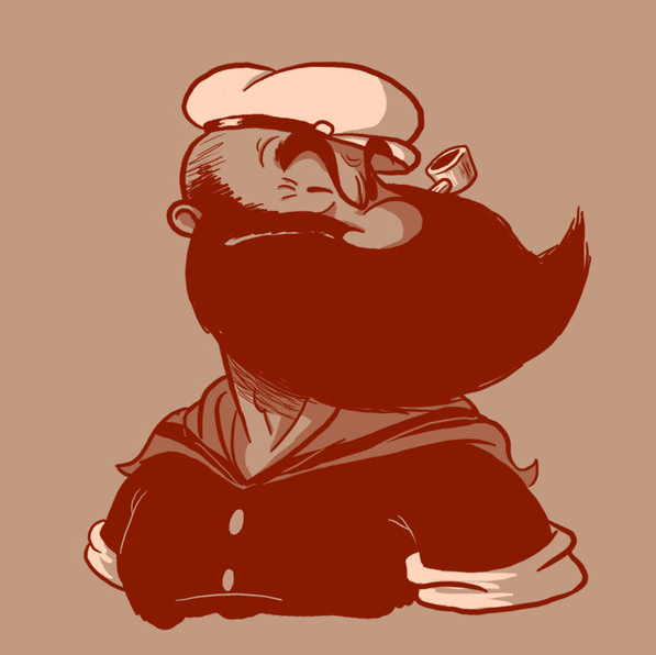 You see, even Popeye looks better with a beard. Get your beard on! [Art by Vanja Mrgan]