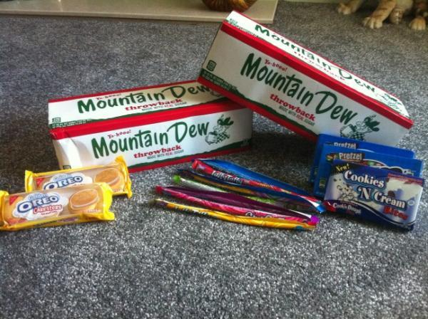 Mountain Dew Throwback Golden Oreo Cakesters Laffy Taffy Cookies n Creme Bites
