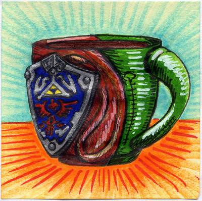 "I drew you a Hylian Shield Mug of coffee It is the Hylian Shield from the Zelda video games, but most of you already knew that. Link would enjoy a nice hot drink of coffee out of this mug. I hope you like it. This is part of my ""The Daily Coffee"" marker drawing series."