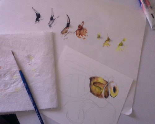 redoing my Bzzzz & Honey series in watercolors. Planning a little zine with them.