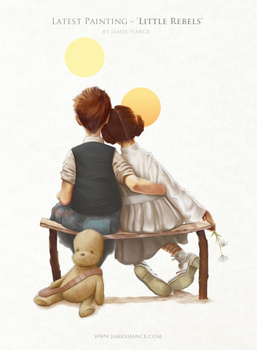 "justinrampage:  In the brilliant style of Norman Rockwell, artist James Hance brought a beautiful Star Wars spin to one of his famed pieces called ""Puppy Love"". 16"" x 12"" prints are now on sale at James' online store for only $10. Little Rebels by James Hance (Facebook) (Twitter) Via: jameshance"