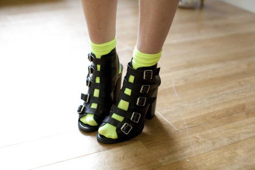 Give your shoes a spring spin with neon socks!