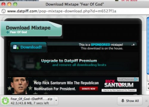 "Rick Santorum Ad on Pusha T Mixtape He's ""Grindin'"" his way to the nomination."