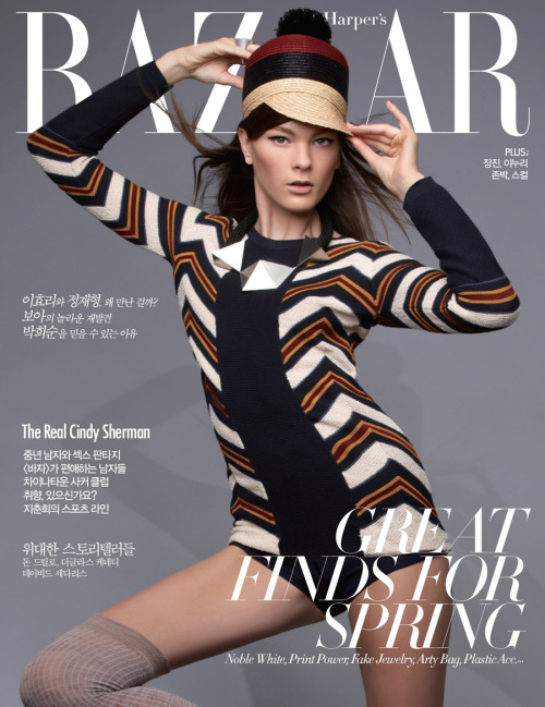 Irina Kulikova covers the March issue of Korean Harper's Bazaar magazine photographed by Fred Meylan.  Original Article