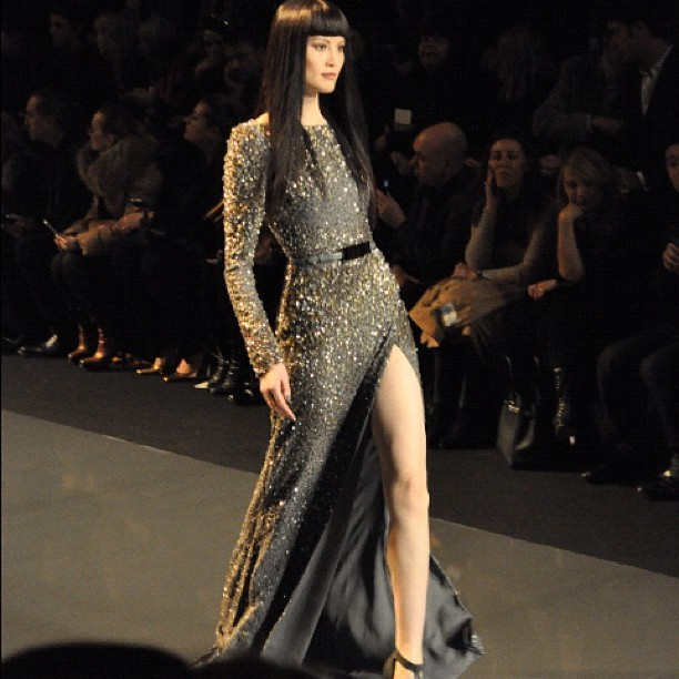 This model was doing an 'Angelina' at Elie Saab #pfw  (Taken with instagram)
