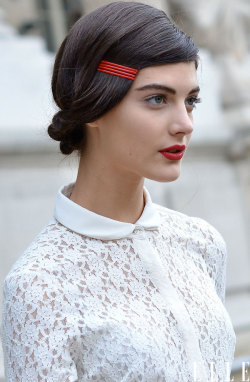 elle:  Street Chic: Paris Looking very Snow White in a red lip and crisp white shirt Photo: Courtney D'Alesio