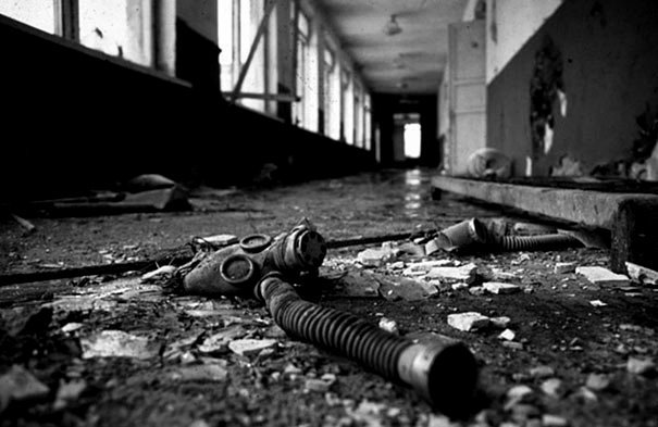 Gasmask at a Chernobyl school.