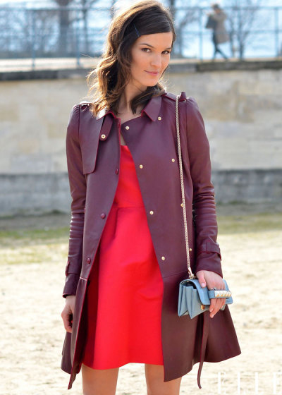 elle:  Street Chic: Paris Hanneli wearing a Valentino leather coat and bag Photo: Courtney D'Alesio