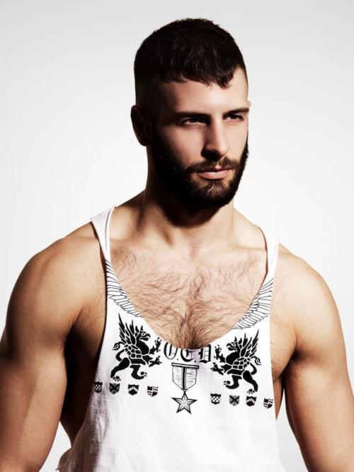 Bearded muscle-tank Husband Material.