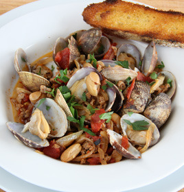 Did you know that farmed clams are an environmentally responsible seafood choice?  They make a quick and easy meal when steamed or braised, and are excellent tossed with pasta, and in paellas and seafood stews. Check out this month's recipes—including one by celebrity chef Carla Hall!