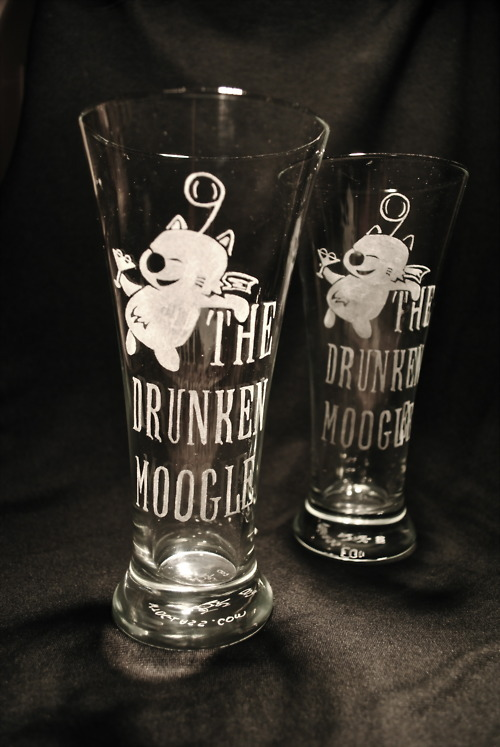 The Drunken Moogle Flared Pilsner Glass Thank you, Etsy user WastedTalentDesigns for making us these two TDM pilsner glasses! WTD is the artist behind the awesome Galaga glass we posted a while back. Thanks again, these are great!
