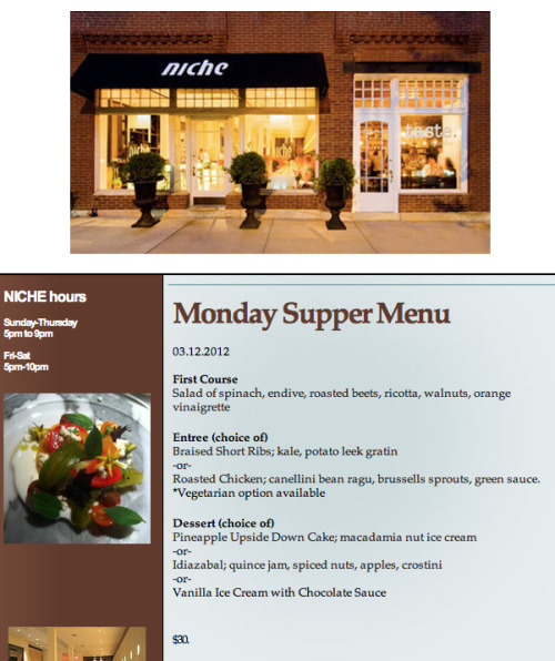 This Week's Monday Supper Menu