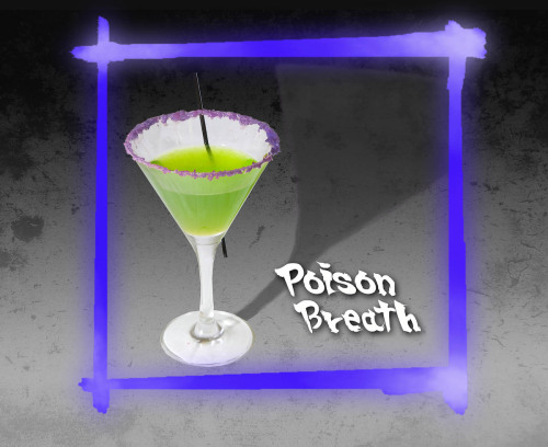 Poison Breath - Yoshimitsu (Tekken cocktail) Ingredients:25ml Midori50ml sake10ml passion fruit syrupLemon juice (1/2 a lemon's worth)Popping candyDirections: To make this potent and tasty poison, coat the rim of a cocktail glass with popping candy.  Stir ingredients with ice to chill, pour and serve.  Commit Harikiri and drink up. Drink created by James Dance of Loading as part of a Capcom Europe endorsed series of SFxT cocktails.  These drinks were served at a launch event in London this past week. Many more, from both Loading and the Drunken Moogle, to come!   I really like the straw sticking through the glass in the picture, as to mimic one of Yoshimitsu's trademark moves.