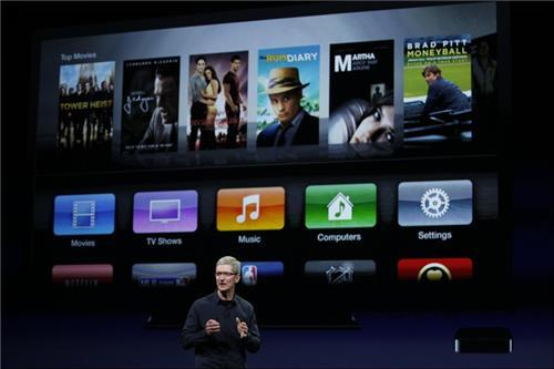 reuters:  The new interface of Apple TV, unveiled Wednesday at Apple's event in San Francisco. The upgraded device supports full 1080p resolution and will cost the same price as its predecessors: $99. The device hits the shelves on March 16th with pre-orders beginning today. [REUTERS] Live blog: Apple's San Francisco event  New iPad will have a retina display!