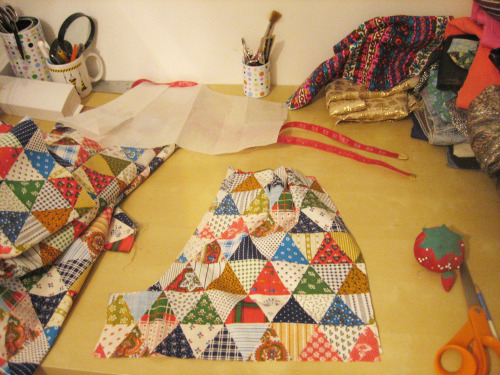 triangle patchwork crazy print