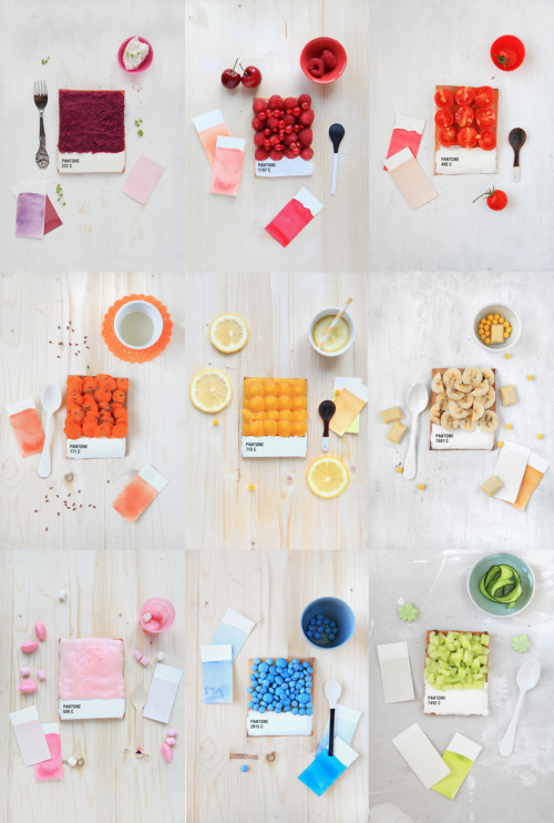 createthislookforless:  Colors! warbyparker:  Food as Pantone swatches. Yum.