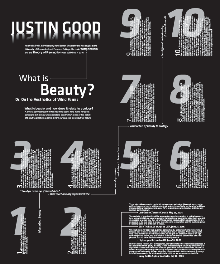 typographic poster design for an article by Justin Good. Folds into an 8 page broadsheet.