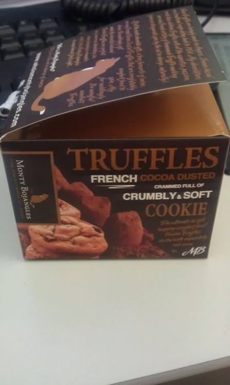 "I bought this box of ""Monty Bojangles"" truffles for 2 quid at Waitrose to treat myself today (and the rest of this week!). They are French truffles with a crumbly soft cookie in the centre. Incredibly rich, so I'm allowing myself only a few per day (they are rather small!). I gave a couple to my colleague, then told her how much they cost. She was shocked and said they tasted like very expensive truffles. And they do. I highly recommend them."