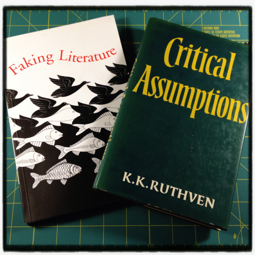 "K.K. Ruthven, Faking Literature (2001) & Critical Assumptions (1984)  I don't remember how exactly I found these books. I think I was Googling a bunch on originality and copying and imitatio while I wrote Steal, and the chapter in Assumptions on ""Imitation and originality"" was so good I went ahead and tracked down the book, then picked up Faking later.  These are thick, academic texts. Not by any means light reading, but man, if you are interested in ideas of originality, copying, and authenticity, there's some good stuff here.  I particularly love this quote on influence from Critical Assumptions:     Our understanding of literary 'influence' is obstructed by the grammar of our language, which puts things back to front in obliging us to speak in passive terms of the one who is the active partner in the relationship: to say that Keats influenced Wilde is not only to credit Keats with an activity of which he was innocent, but also to misrepresent Wilde by suggesting he merely submitted to something he obviously went out of his way to acquire. In matters of influence, it is the receptor who takes the initiative, not the emitter. When we say that Keats had a strong influence on Wilde, what we really mean is that Wilde was an assiduous reader of Keats, an inquisitive reader in the service of an acquisitive writer.   Faking Literature might be an even better starting point, as a lot of Ruthven's ideas about originality make their way into the chapter, ""Fantasies of Originality."" (A title I just love.) Here's a collage of phrases I have underlined:     …copying makes us what we are…all pretentions [to originality] are ludicrous…a student required to imitate canonical writers would not only appreciate their artistry but learn how to emulate or even surpass them…improving on it by doing something different…to write is 'first of all to quote'…evolution in literature as in life depends on errors in the copying process…Since nothing human is created ex nihilo, everything is made of something else, and is in that respect a bricolage…good and bad borrowing…the disturbing recognition that plagiarism is not a corruption of literature but systemic to it…the fetish of originality, that mystification…by judiciously selecting precursors to steal from you actually 'honor' them with the 'benediction' of [your] theft…since writers tend to be readers, what they have read is likely to show up in what they write…   I could go on and on. What Ruthven is saying in the book is that even though we decry them and shun them, literary forgeries tell us just as much about literature as does literature itself, and that, in the end, all literature is a forgery.  When I mix all Ruthven's thinking in with this Andrew Potter sentence from The Authenticity Hoax (""Plagiarism is the flip side of forgery: forgers pass off their own work as that of someone else, while plagiarists pass off the work of others as their own.""), it get all kinds of ideas. (I'm currently working on a little mini-essay presenting forgery as a better model for creative work than plagiarism, but I'm not quite ready to post it yet…)  Anyways, thank you Professor Ruthven!  Filed under: my reading year 2012."