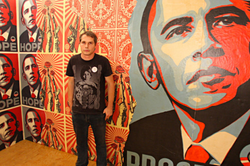 "SHEPARD FAIREY COULD DO JAIL TIME When not employing backhanded tactics while fighting ne'erdowells on an episode of The Simpsons alongside Ron English and other street artists, Shepard Fairey is employing similarly backhanded tactics in a fight against anti-creative copyright laws. After settling out of court in what seemed like a victory for the OBEY camp against the Associated Press, recent news circuits swirled into a frenzy when it was discovered that Shep had created false documents and deleted files to lie in court. He is now being charged with contempt in the federal courts following the case that saw him lying about using the AP's photo for his Obama ""HOPE"" poster, and stating instead that it was another of their photos used with artistic liberties taken to a degree that was permissible under the ""Fair Use Act."" Shep may face some jail time, as a report released by the Associated Press states that the government intends on seeking a term of imprisonment for the artist, who plead guilty and is currently out on recognizance until sentencing"