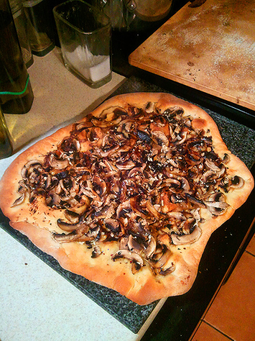 reblogged from vegansquid:  Homemade mushroom pizza with an incredible amount of garlic, cilantro, agave, balsamic vinegar, and olive oil.