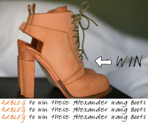fashionchalet:  fashionchalet: REBLOG THIS POST to Enter and Win Alexander Wang boots! SEE DETAILS HERE:http://www.fashionchalet.net/2012/03/new-in-alexander-wang-dakota-lace-up.html Ends, March 14th. Good Luck. Open Internationally!