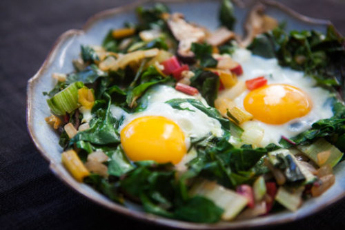 Eggs Nestled in Sautéed Chard and Mushrooms … I love eggs/breakfast for *any* meal! Make!!