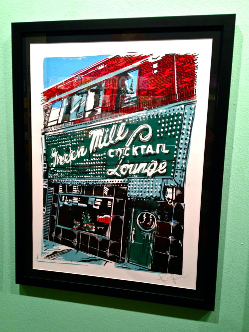 The Green Mill is one of Chicago's iconic music venues. This prohibition-era speakeasy has a rich history, well-known for hosting jazz legends and a meeting place for mobsters. Kevin O'Rourke captured its likeness in a five color linoleum block print. Available at Inkling, 2917 1/2 N. Broadway, Chicago. $100 framed, $45 unframed