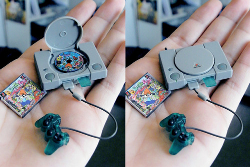 "tokyoagent:  mini PlayStation on Flickr.  with mini ""Parappa the Rapper"" game, memory card and green controller.[1/6 scale] Check out some other amazing miniatures on his Flickr."
