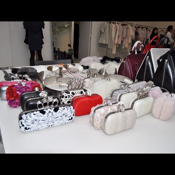 A cluster of clutches at Alexander McQueen #pfw  (Taken with instagram)